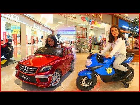 Alışveriş Merkezinde Akülü Arabalar ve Motosiklete Bindik l Çocuk Videosu l Rüya'nın Çiftliği