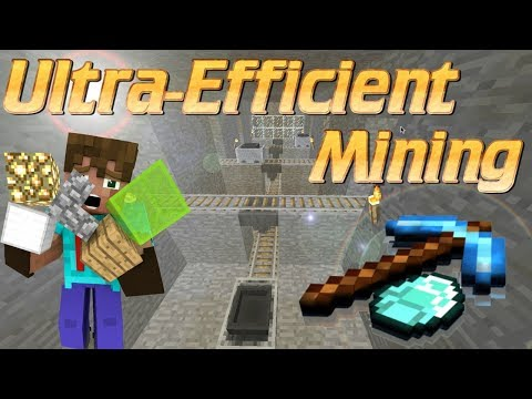 Efficient Mining Collection System in Minecraft | Use Rails to Speed Up Mining Tutorial | SIMPLE