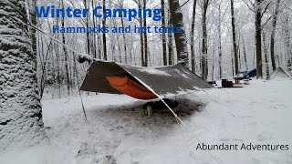 Winter Hammock and H๐t Tent Camping in Freezing Temps with Snow and High Winds.