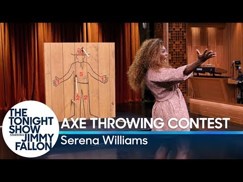 Serena Williams Challenges Jimmy to an Axe Throwing Contest
