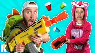 NERF Fortnite Obstacle Course + Costume Gear Test in Real Life! KIDCITY