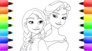 How to Draw ELSA AND ANNA from FROZEN for Kids! Easy Disney Drawings & Art