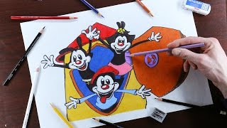 How to draw Animaniacs - Yakko, Wakko, and Dot!