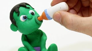 Baby Hulk loves milk 💕 Superhero Play Doh Stop motion cartoons