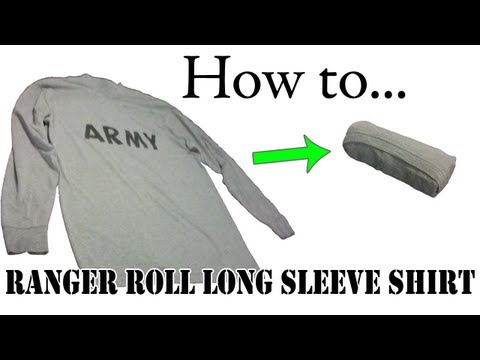 Army Packing Hack: How to Ranger Roll Long Sleeve Shirts - Basic Training APFU PT Uniform