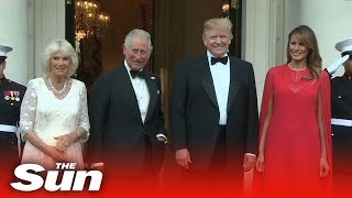 The Trumps greet Prince Charles and Camilla as they arrive for dinner at Winfield House