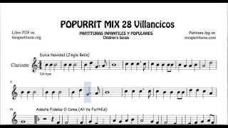 28 Popurrí Mix Villancicos Partituras de Clarinete Dulce Navidad Adeste Fideles Los Campanilleros