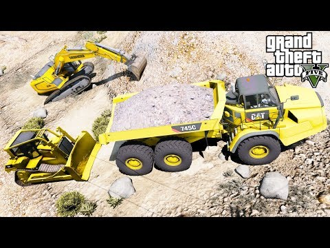 GTA 5 REAL LIFE MOD Construction Work At The Quarry With Off Road Dump Truck, Bulldozer & Excavator