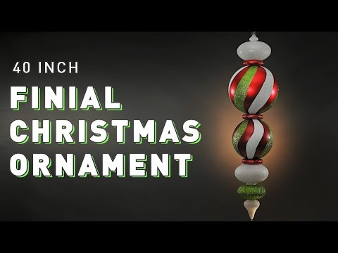 40 inch Finial Christmas Ornament | Pro Designer Series | Green and Red Swirl