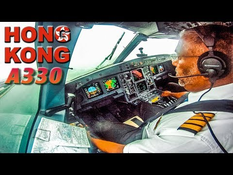 Bad Weather arrival into Hong Kong in Cockpit A330