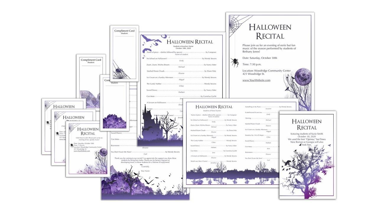 Halloween Recital Program Templates Editable Youtube