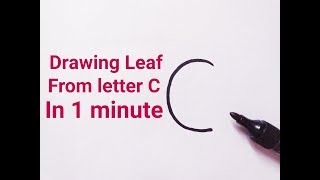 How to draw a leaf easy from letter C Drawing leaves easy  drawing tutorial for kids beginners