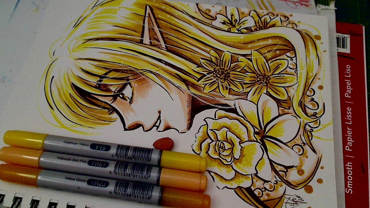 """""""3 marker challenge"""" drawing and coloring (copics yr61"""