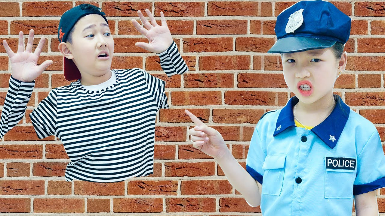 Police And Thief Pretend Play Jump Through Wall - Kids Song with SuperHero