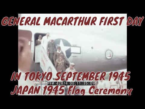 GENERAL MACARTHUR FIRST DAY IN TOKYO  SEPTEMBER 1945 JAPAN  1945  Flag Ceremony  42874