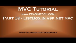 Part 39   ListBox in asp net mvc