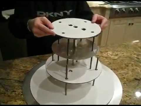 How To Stack Cakes Wedding Cake Stand YouTube