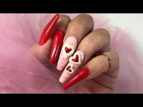 Heart ♥️  Raspberry Jelly Filled Valentine Cookie Nails YUMMY ! Cookie Nails !