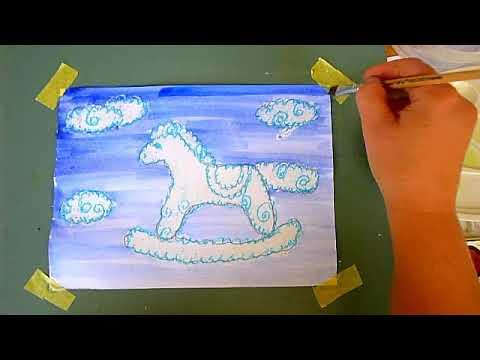 2 клас. Мистецтво. Малюємо хмарки ( воскові олівці) та небо (спосіб акварельної заливки)