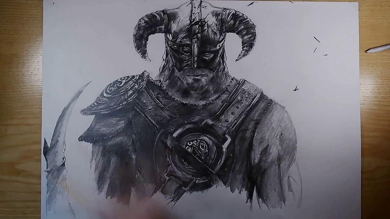 Drawing Dovahkiin Skyrim Youtube