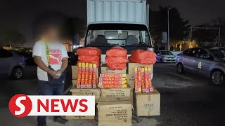 Man arrested in Pontian, RM111,000 worth of firecrackers seized