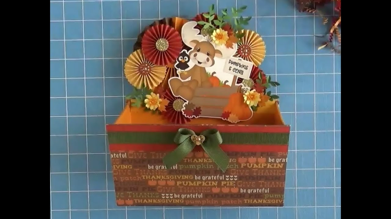 Fall Paper Craft Moose Box Project share ~ DIY Home Decor
