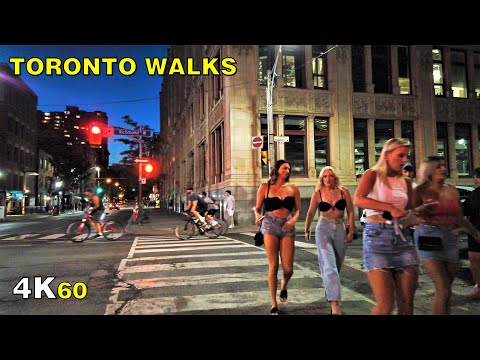 Friday Night Walk in Downtown Toronto (Narrated) on July 17, 2020 [4K]