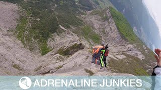 Pair Of Daredevils Base Jump Together Like A Rodeo