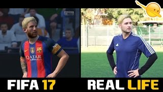 FIFA17 VS REAL LIFE !?!? ft I2BOMBER Free kick Messi Cr7 Bale Robben Reus