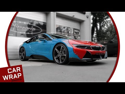 Blue BMW I8 Wrapped In Gloss Dragon Fire Red