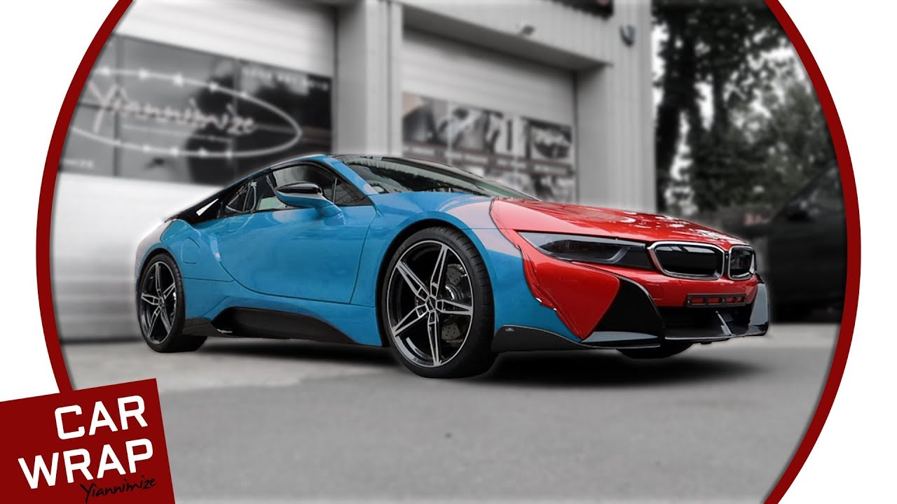 Blue Bmw I8 Wrapped In Gloss Dragon Fire Red Youtube