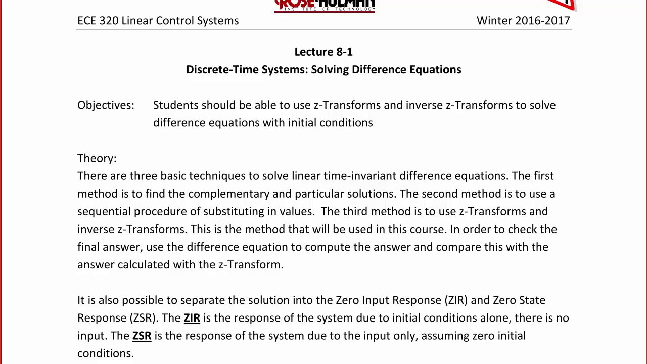ECE320 Lecture 8-1a: Discrete-Times Systems - Solving Difference Equations