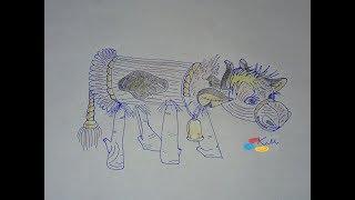 Солом'яний бичок, уроки малювання на каналі #КазочкиМалюночки
