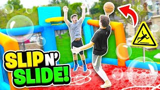 SLIP N SLIDE INFLATABLE BASKETBALL CHALLENGE (DANGEROUS)