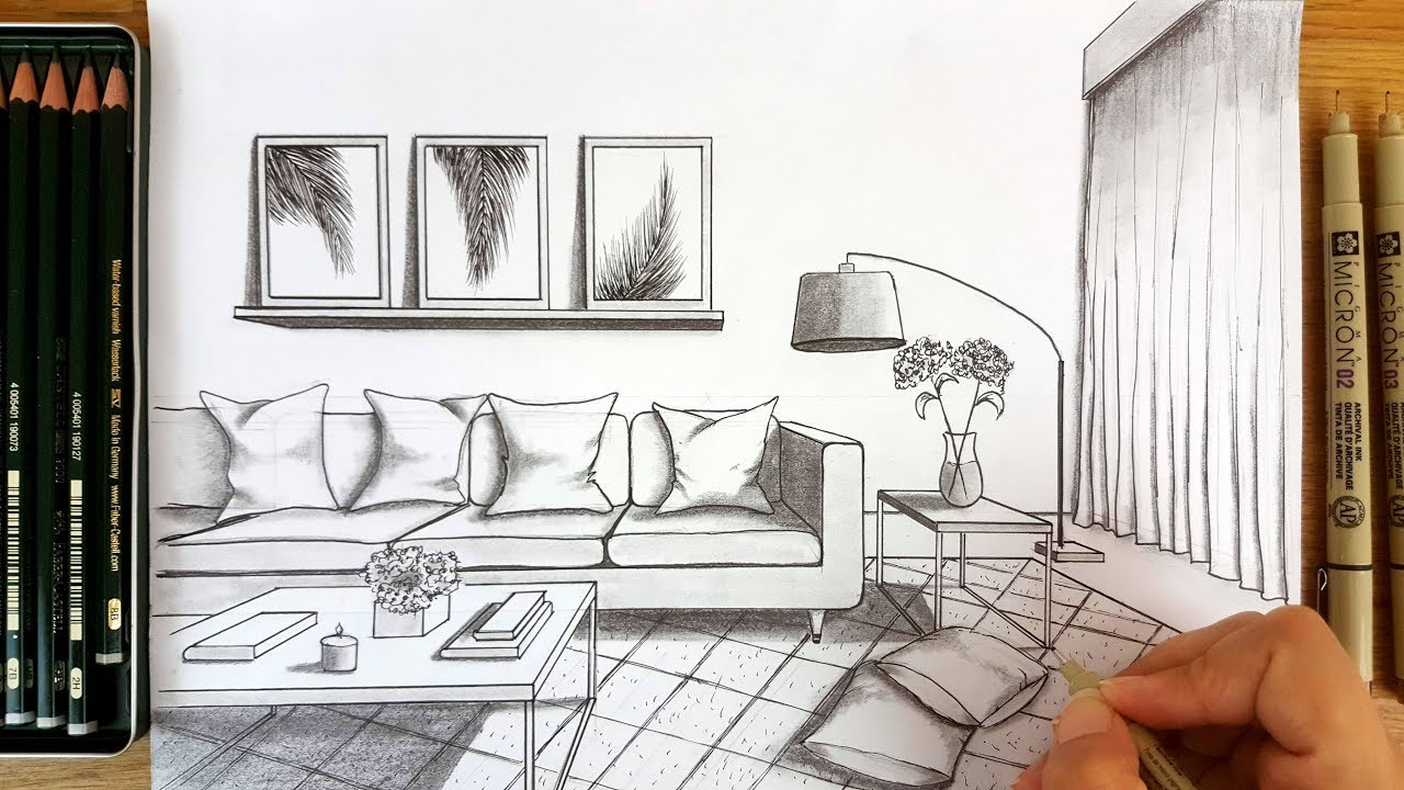 Drawing A Modern Living Room In One Point Perspective | Timelapse