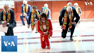 Speaker of the house nancy pelosi led and senate democrats in a moment silence at capitol building's emancipation hall, monday, june 8.—————————...