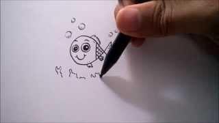 "CARA MENGGAMBAR IKAN DARI HURUF ""N"" | HOW TO DRAW A FISH FROM A LETTER ""N"""