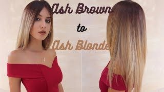 ASHY  Ash Brown Roots to White Blonde Ombre  Stella