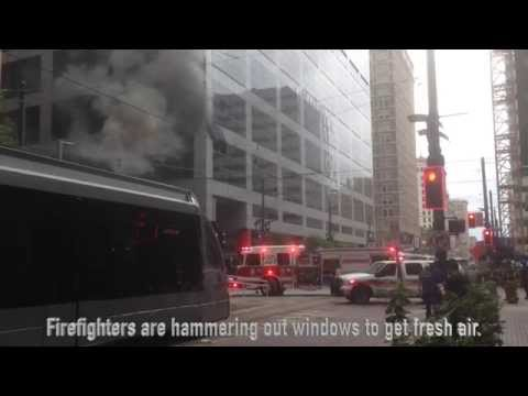 Houston parking garage fire, METRORail suspended.