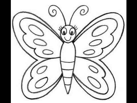 How to draw a butterfly easy for kids cartoon butterfly