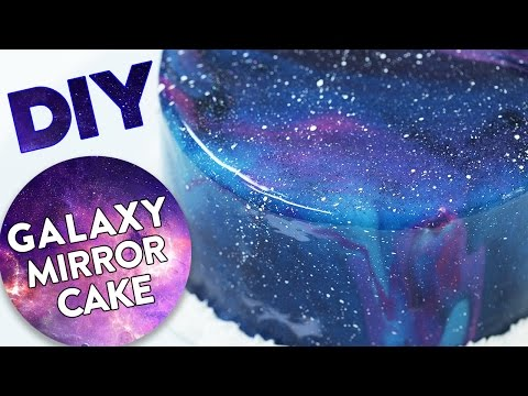 DIY GALAXY MIRROR CAKE!