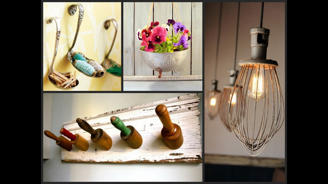 Best ideas to reuse old kitchen items recycled utensil for Decorative items for home with waste material