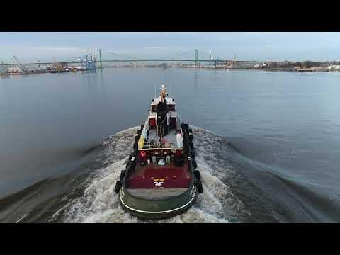 Aerial Drone Video of Tugboat Cape Henry Delaware River Philadelphia