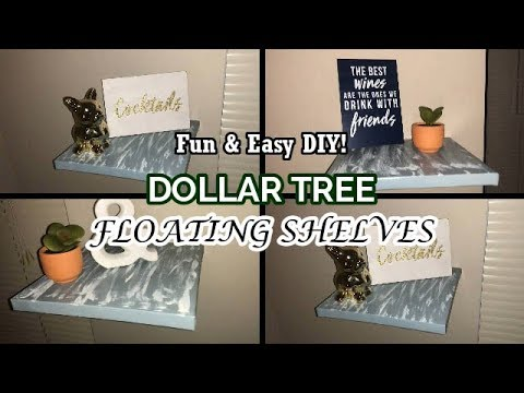 Dollar Tree DIY FLOATING SHELVES | WALL ART DECOR