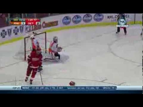 Detroit Red Wings Pavel Datsyuk's Scores A Goal On A Nifty Backhander