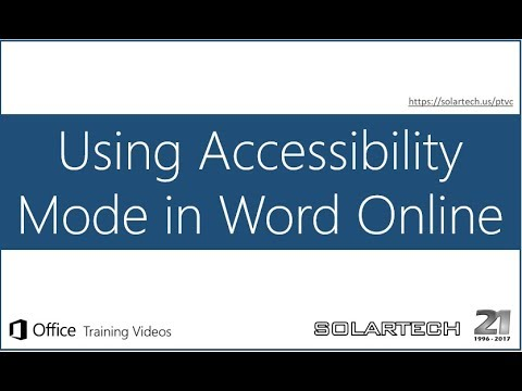 Office 365 Using Accessibility Mode In Word Online YouTube