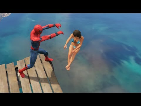GTA 5 Water Ragdolls | SPIDERMAN Jumps/Fails #12 (Euphoria physics | Funny Moments)