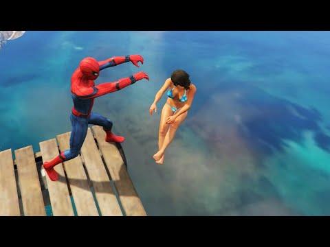 download GTA 5 Water Ragdolls | SPIDERMAN Jumps/Fails #12 (Euphoria physics | Funny Moments)