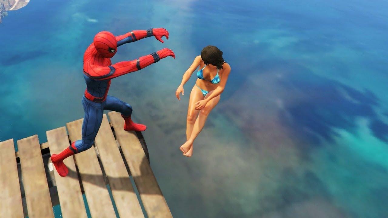 GTA 5 Water Ragdolls | SPIDERMAN Jumps/Fails #12 (Euphoria physics | Funny Moments)
