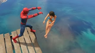 GTA 5 Water Ragdolls | SPIDERMAN Jumps/Fails #12 (Euphoria physics | Funny Moments) thumbnail